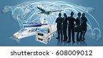 world map flight paths... | Shutterstock .eps vector #608009012