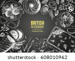 british cuisine top view frame. ... | Shutterstock .eps vector #608010962