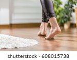 floor heating. young woman... | Shutterstock . vector #608015738