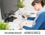 designer woman drawing website... | Shutterstock . vector #608015822