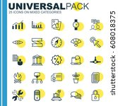 set of 25 universal editable... | Shutterstock .eps vector #608018375