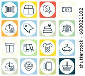 set of 16 ecommerce icons.... | Shutterstock .eps vector #608021102