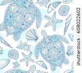 seamless summer underwater... | Shutterstock .eps vector #608022602