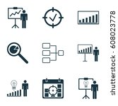 set of 9 administration icons.... | Shutterstock .eps vector #608023778