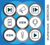 set of 9 audio icons. includes...