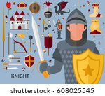 knight concept background. flat ... | Shutterstock .eps vector #608025545