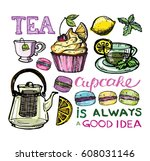 cupcakes and macaroons.hand... | Shutterstock .eps vector #608031146