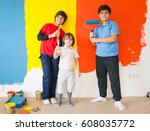 kids in painting room on wall | Shutterstock . vector #608035772