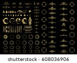 gold vintage decor elements and ... | Shutterstock .eps vector #608036906