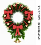 christmas wreath isolated on... | Shutterstock . vector #60803716