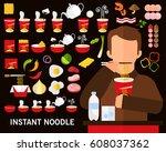 instant noodle concept...   Shutterstock .eps vector #608037362