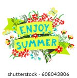 summer floral banner. enjoy... | Shutterstock .eps vector #608043806