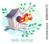 Hello Spring Poster. Birdhouse...