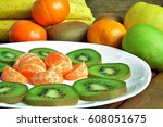 composition of fresh fruits of... | Shutterstock . vector #608051675