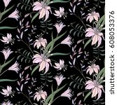 floral pattern with lily on...