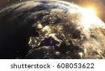 earth sunrise at central europe ...   Shutterstock . vector #608053622