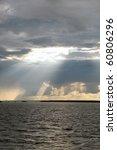 River landscape, storm evening clouds - stock photo