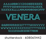 futuristic font linear design... | Shutterstock .eps vector #608065442