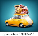 cute fantastic retro car with... | Shutterstock . vector #608066912