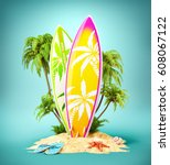 surf boards on paradise island... | Shutterstock . vector #608067122