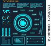 futuristic blue virtual graphic ... | Shutterstock .eps vector #608087336