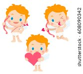 cute vector set of cupid with... | Shutterstock .eps vector #608090342