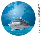 illustration of cruise ship... | Shutterstock .eps vector #608096228