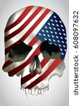 vector   skull with texture usa ... | Shutterstock .eps vector #608097632