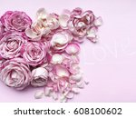 Stock photo shabby chic roses love chalkboard word pink roses and petals on pink background 608100602