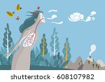 woman breathing in a natural... | Shutterstock .eps vector #608107982