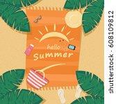 hello summer beach poster... | Shutterstock .eps vector #608109812