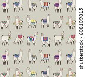 lama animal vector pattern | Shutterstock .eps vector #608109815