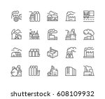 simple set of factories related ... | Shutterstock .eps vector #608109932