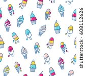 various ice cream seamless... | Shutterstock .eps vector #608112626
