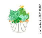 cupcake with creamy succulents  ... | Shutterstock .eps vector #608113106