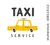 taxi service  isolated on white ... | Shutterstock .eps vector #608113112