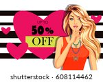 beautiful model with banner of... | Shutterstock .eps vector #608114462