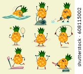 cute pineapple take exercise.... | Shutterstock .eps vector #608115002