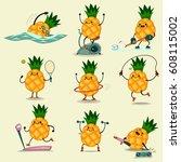 cute pineapple take exercise.... | Shutterstock .eps vector #608115002
