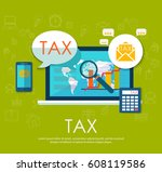 state taxes. tax payment.... | Shutterstock .eps vector #608119586