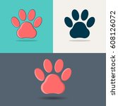 paw. icons of paws of animals. | Shutterstock .eps vector #608126072