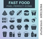 set of pixel perfect fast food... | Shutterstock .eps vector #608126366