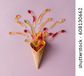 Ice Cream Cone With Gummy Cand...