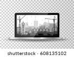 realistic modern laptop... | Shutterstock .eps vector #608135102