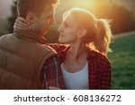 funny and cute couple hugging | Shutterstock . vector #608136272