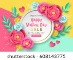 Stock vector mothers day sale banner template for social media advertising invitation or poster design with 608143775