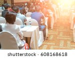 speakers on the stage with rear ... | Shutterstock . vector #608168618