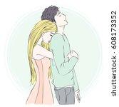 pretty blonde girl hugs her... | Shutterstock .eps vector #608173352