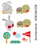 Stock vector set of tortoise and the hare turtle and rabbit racing together to win flat style isolated on 608186108