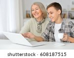 grandmother with grandson... | Shutterstock . vector #608187515